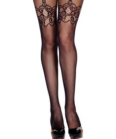 Black Lace Fishnet Faux Garter Tights