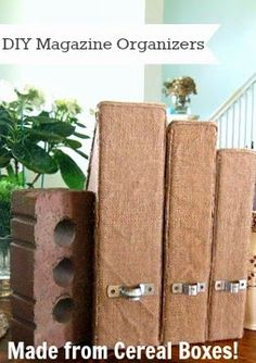 DIY Magazine Organizers made from old cereal boxes!