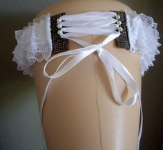 Steampunk White Lace with Patterened Leather Corset Style Wedding Garter Cosplay £25.95