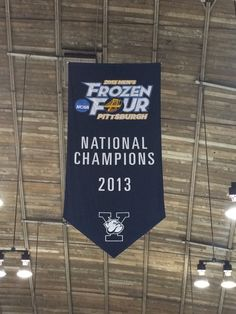 Banner from the Ingalls rafters celebrating the 2013 National Champions #connecticut #ct #newengland #newhaven #yale #hockey #architecture #ncaa #frozenfour