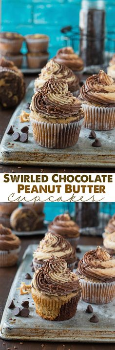 This is the best combo - swirled chocolate peanut butter cupcakes with chocolate peanut butter buttercream! (Chocolate Peanut Butter Cupcakes)