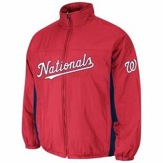 Washington Nationals MLB Majestic Men's Red 2016 Double Climate Quilted Full Zip On-Field Jacket (L)
