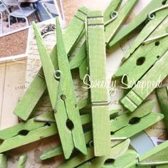 Chartreuse Green Distressed Clothespins Home by SweetlyScrappedArt, $1.00