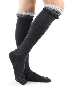 Loving this Charcoal Heather Gray Ruffle Knee-High Socks on #zulily! #zulilyfinds