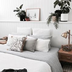 Today we're bringing you one of our fave accounts to stalk @thehouseonbeachroad Caitlin is the queen of styling and has renovated her home to perfection We're especially obsessed with the fabulous panelled wall in her bedroom with the best integrated shelf we've ever seen She's used easy vj 100mm grooved panelling, which looks incredible, and built the timber shelf at a height of 1300mm and 225mm deep High enough to be out of reach of lit