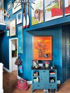 Art-Filled Entry - All-American Great Room on HGTV