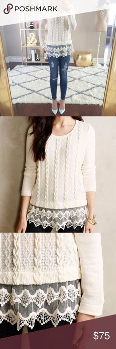 ANTHROPOLOGIE Lace Dipped Pullover Sweater $128 Anthropologie Sunday in Brooklyn Lace Dipped Pullover Sweater Sz S  This is a gorgeous Sunday In Brooklyn pullover sweater. It has a scoop neck, is a creamy ivory white, cotton blend and has a scalloped lace finish. It has long sleeves and a layered lace finish. Anthropologie Sweaters