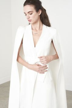 Off White Maxi Belted Cape Blazer