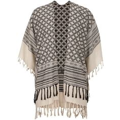 neutral patterned ruana wrap with fringe ($29) ❤ liked on Polyvore featuring accessories и scarves