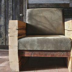 Mobilier de salon  Fauteuil en bois et en cuir