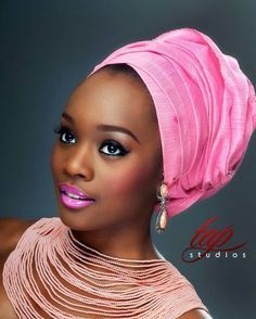 Pink Headwrap with the pink lipstick! African Beauty, African Women, African Fashion, Nigerian Fashion, Ghanaian Fashion, Bad Hair, Hair Day, African Head Wraps, Beautiful Black Women