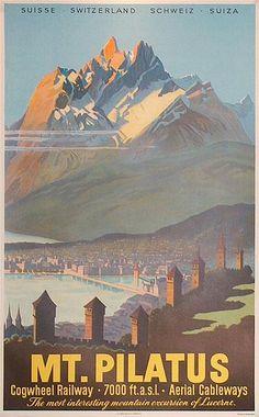Mt. Pilatus, Switzerland, 1950 poster