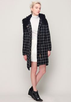 Silk Wool Turtleneck, Cocoon Skirt and Check Down Coat