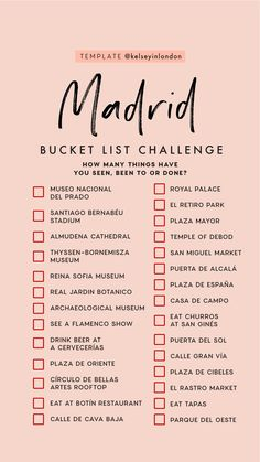 Top things to do in Madrid - Madrid Bucketlist - Instagram Story Template - kelseyinlondon- Kelsey Heinrichs - What to do in Madrid - Where to go in Madrid - top places in Madrid Travel Goals, Travel List, Travel Guides, Travel Abroad, Instagram Story Template, Instagram Templates, Instagram Verhaalsjabloon, Instagram Travel, Spain Travel