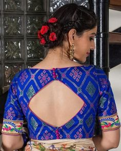 Want to check out complete blouse back neck designs catalogue of this year? Here are 30 latest models you can wear with any saree!Royal blue multicolour brocade sweetheart neck blouse with back detailingSaree & Blouses Online: Buy Women's Saree & Blo Blouse Back Neck Designs, Saree Blouse Patterns, Fancy Blouse Designs, Designer Blouse Patterns, Lehenga Blouse, Blouse Designs Catalogue, Mary Janes, Sari Design, Stylish Blouse Design