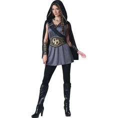 You'll have no trouble capturing your prey with this fetching costume! Black hooded cape with golden trim has a chain closure and includes a grey tunic dress with lace-up neckline and attached shoulde