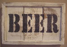 RUSTIC BEER SIGN MAN CAVE RECLAIMED WOOD WHITE WALL DECOR ART HANDMADE PRIMITIVE #Handmade #RusticPrimitive