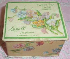 ANTIQUE Lazell Sweet Pea PERFUME Face Powder Box...Embossed Lithograph Graphics