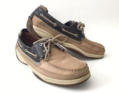 cd1f235c044 Sperry Men s 12 Top Sider Lanyard 2 Eye Boat Shoes Blue Tan Leather Loafer