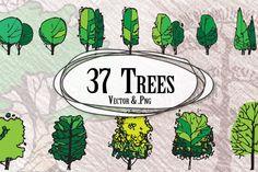 Trees in Elevation by Scrabooli Studio on Creative Market