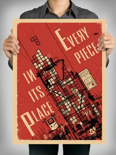 """""""A recently unearthed Soviet-era propaganda poster that reveals the revolutionary origins of the game Tetris."""""""