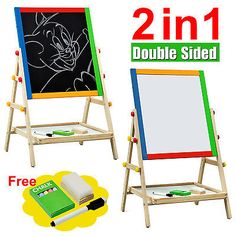 Adjustable #children kids 2 in 1 #black / white wooden easel chalk #drawing board,  View more on the LINK: 	http://www.zeppy.io/product/gb/2/231164616906/
