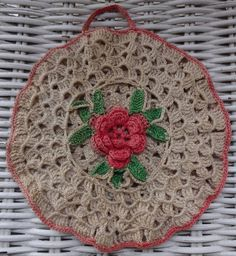 Delicate Hand Crocheted Potholder from the 40s probably. | eBay!