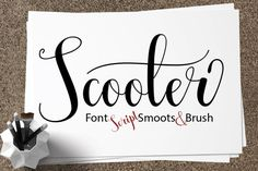 Scooter is a modern calligraphy typeface that was designed completely by hand. Cursive Fonts, Handwritten Fonts, Calligraphy Fonts, New Fonts, Modern Calligraphy, Alphabet Fonts, Calligraphy Alphabet, Beautiful Calligraphy, Beautiful Fonts