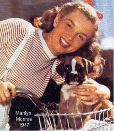 Marilyn Monroe and a #boxer  1947 #celebrities #pets #Dogs