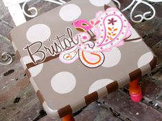 Hand Painted Step Stool by Buzylilbee on Etsy, $60.00