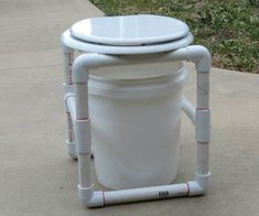 A simple but useful commode for primitive camping conditions. This commode comes apart for easy transport and storage.