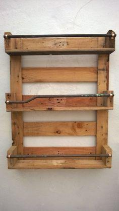 Whisky Rack Shelf, Upcycled Pallet / Crate Handmade Vintage Shabby Chic Kitchen