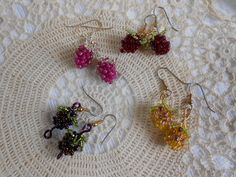 Bramble Berry Earrings, Beaded Berry Bead Earrings, Beaded Bead Jewelry, Raspberry Bead Earrings, Red, Purple, Gold and Blackberry Earrings by ReneesBrambleBeads on Etsy