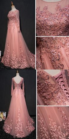 CHIC A-LINE SCOOP FLOOR LENGTH PINK TULLE APPLIQUE PROM DRESS EVENING DRESS AM328