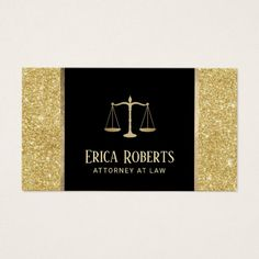 Lawyer Attorney at Law Modern Gold Glitter Business Card