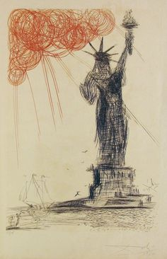 "Salvador Dali ""Status of Liberty"" lithograph"
