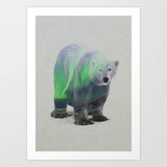 East Urban Home 'Aurora Borealis Series: Polar Bear' Graphic Art on Wrapped Canvas Size: H x W x D Framed Art Prints, Poster Prints, Canvas Prints, Bear Graphic, Graphic Art, Aurora Borealis, Canvas Fabric, Canvas Wall Art, Animal Art Prints
