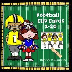 Football - Math Clip Cards  for counting and matching sets of 1-20 objects with a fun  theme.  Use for centers, partner work or individual work.