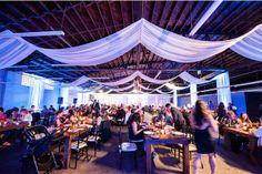 Moniker Warehouse, Viera Photographics, Thomas Bui Lifestyle, Concepts Event Design, draping, wood tables, decor, lighting | Yelp