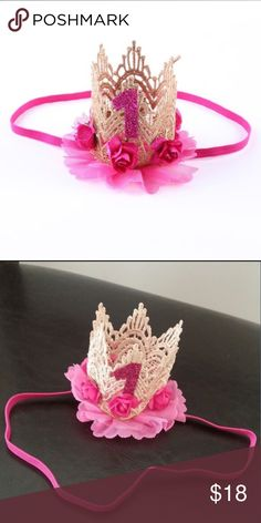 Pink Baby First Birthday Crown Rose Headband Brand new pink first birthday crown headband. Instructions: upon receiving gently bend the form into place so it sits properly on the babies head. Has an round elastic that goes around the face to hold in place. Accessories Hair Accessories