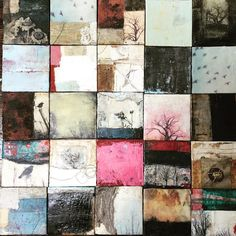 I really enjoyed how the artist of this image used each individual grid to create a variety of artwork in this lovely portrait. Image by Bridgette Guerzon Mills Art Du Collage, Encaustic Art, Art Series, Art Moderne, Small Paintings, Small Art, Oeuvre D'art, Art Techniques, Painting Inspiration