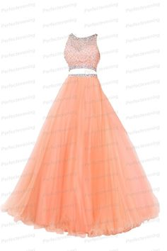 New Two Pieces Set Prom Dresses with Bead Top Long Orange Tulle Formal Ball Gown #perfectevening