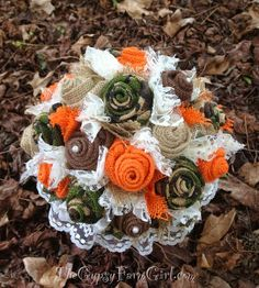 GypsyFarmGirl camo and orange burlap and lace wedding brides bouquet for woodsy, outdoors, hunting themed wedding