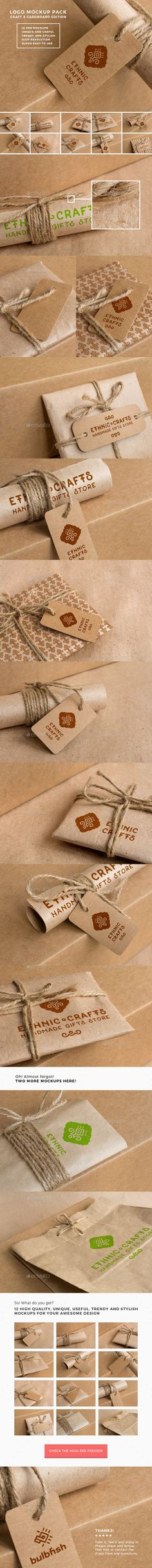 Logo Mockup Pack. Craft and Cardboard Edition - Logo Product Mock-Ups