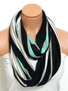 Neon Infinity Scarves textile NeonBlack by WomensScarvesTrend, $21.00