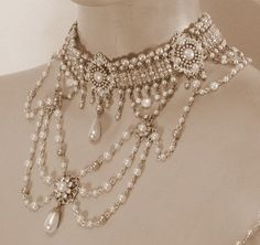 Bridal Wedding Jewelry My Vintage Style Jewelry Victorian choker bib necklace - My Vintage Style Jewelry Victorian choker bib necklace Victorian Jewelry, Antique Jewelry, Beaded Jewelry, Handmade Jewelry, Gothic Jewelry, Antique Lace, Victorian Era, Crystal Jewelry, Silver Jewelry