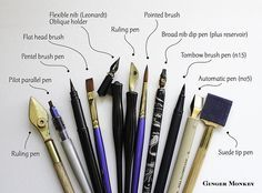 "Moana Lua wrote: ""I often get asked what pens I use for calligraphy and hand lettering. Here's a shot of my most trusted tools. My favourites are the simple pointed and flat head brushes."""