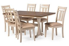 French Country Dining Table & 6 Chairs in Brown/Cream Distressed