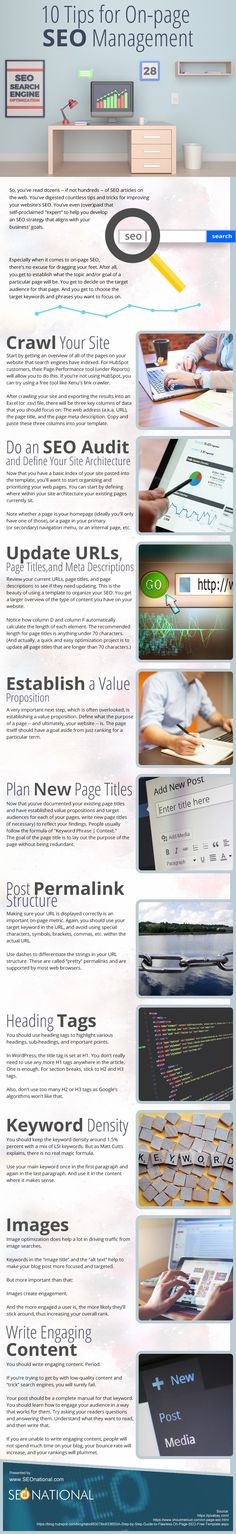 Infographic on 10 Tips for On-page SEO Management.