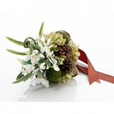 Lillian Rose Moss Bouquet - Add an earthy, natural touch to your wedding style with Lillian Rose's unique Moss Bouquet. It pairs succulents, flowers, moss, pine cones and peps in a one-of-a-kind bouquet. A handle wrapped in brown satin completes the look. Wedding Ceremony Supplies, Lillian Rose, Alternative Bouquet, Wedding Shoppe, Succulent Bouquet, Bride Bouquets, Flower Bouquets, Bridal Flowers, Event Decor
